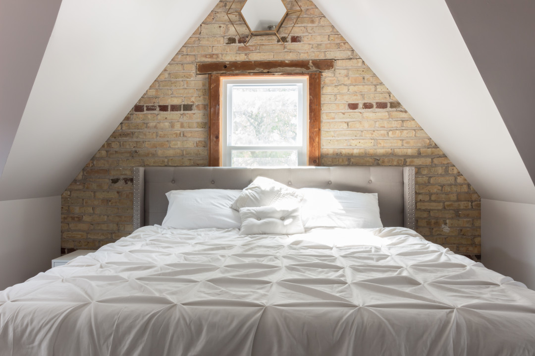 Chicago Finished Attic Master Bedroom Exposed Brick Wall